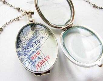 Beveled glass locket necklace, glass locket pendant, personalized women's glass locket necklace bridal locket gift for her, gift for bestie