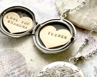 Personalized Mothers Day gift, name necklace, Love you Grandma, Heart locket, new baby gift, Personalized name necklace