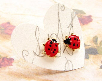 Ladybug studs, vintage stud earrings, vintage post earrings, red enamel ladybug stud earrings