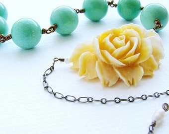 Yellow rose statement necklace, apple green stone statement jewelry, bright lemon green spring easter jewelry