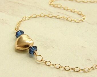 birthstone necklace, Gold Heart Necklace, bridesmaid jewelry, custom Swarovski birthstone necklace