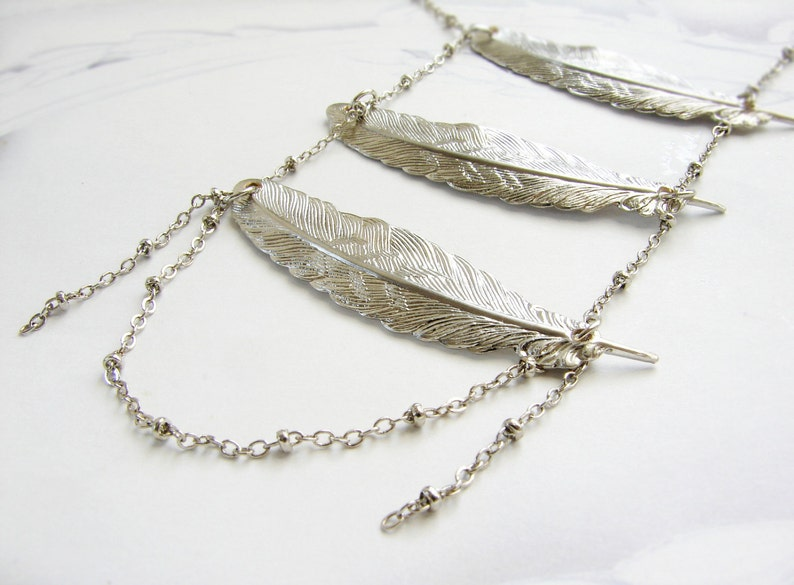 boho feather statement jewelry gift for her Feather statement necklace Matte Silver Layered  feather pendant