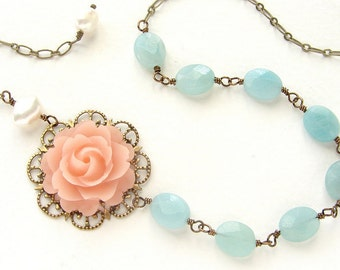 Blush Pink Rose aqua Necklace, Bridal jewelry, Seafoam stones wedding necklace bridal necklace
