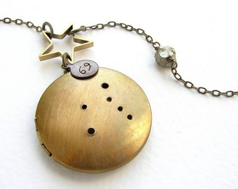 Cancer zodiac Necklace, Personalized constellation locket necklace, June July birthday zodiac constellation necklace