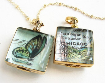 Butterfly and map locket necklace, graduation gift Personalized map custom glass locket necklace, beveled square glass locket