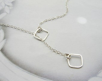 square lariat necklace, geometric necklace, hammered open square sterling silver lariat, dainty minimal everyday necklace