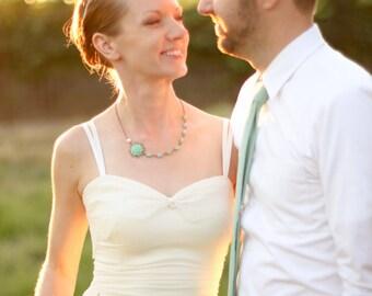 Aqua Mint Rose wedding necklace, Bridal necklace wedding jewelry, seafoam stones Necklace, bridal wedding jewelry set floral jewelry