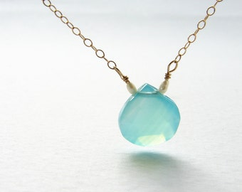 Seafoam gemstone necklace, bridesmaid jewelry aqua blue Chalcedony pearl 14kt gold filled simple gemstone necklace