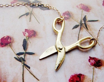 Tiny scissor necklace - miniature movable scissor gold necklace, 14kt gold filled chain
