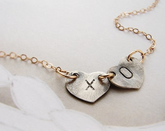 XOXO kiss hugs necklace, charm necklace, personalized initial heart charm, couple kids two initials necklace, xo necklace, heart jewelry