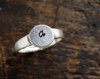 Initial ring, pinky ring, stackable ring, personalized jewelry, sterling silver signet customize initial