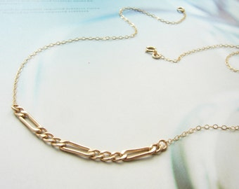 Mixed chain necklace, Simple gold everyday gold necklace, dainty necklace, layering gold bar necklace layered necklace