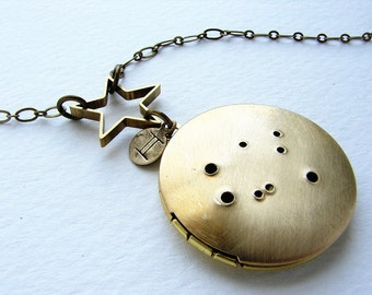 Personalized jewelry, zodiac constellation necklace, Personalized zodiac, Gemini constellation locket, May June birthday zodiac necklace