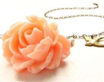 Sale Peach rose necklace bridesmaid jewelry swallowtail bird pearl bridesmaid necklace, wedding jewelry set