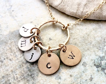 Family initial necklace, Initial necklace, children initial necklace, custom hand stamped initial necklace, Grandma necklace, Gift for Mom