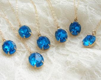 Bridesmaid jewelry, Vintage sapphire rhinestone necklace, 7 Wedding party gifts, oval rhinestone pendant