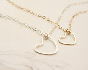 Silver heart necklace, bridesmaid jewelry, hand hammered charm sterling silver heart jewelry