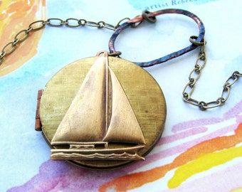 Sailboat Locket Necklace -vintage locket necklace, sailboat necklace, nautical marine sailor necklace