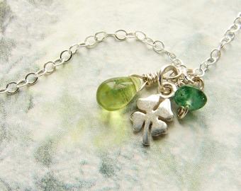 Tiny clover necklace, shamrock charm, Peridot emerald jade stone dainty everyday necklace, good luck charm
