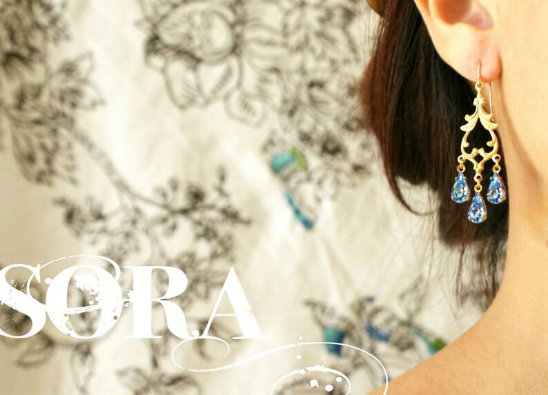 vintage sapphire blue crystal teardrop Bridal earrings something blue bridal earrings Crystal Chandelier Earrings September birthstone