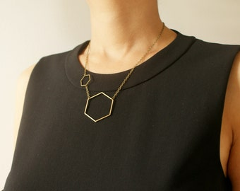 Double Hexagon necklace, honeycomb statement necklace, open hexagon, geometric molecular statement necklace, gift for chemist