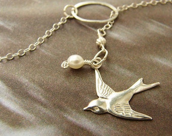 Dove Bird Lariat, Bridesmaid jewelry, bridal pearl sterling silver swallowtail necklace bridesmaid lariat necklace