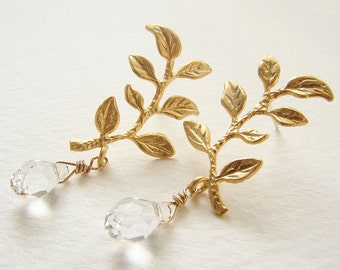 Gold sprig studs, Bridal post earrings, Wedding jewelry laurel branch leaf drop earrings, bridal earrings gift for her