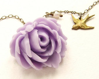 Bridesmaid jewelry, lavender rose necklace pastel lilac purple rose swallowtail bird charm necklace, bridesmaid necklace