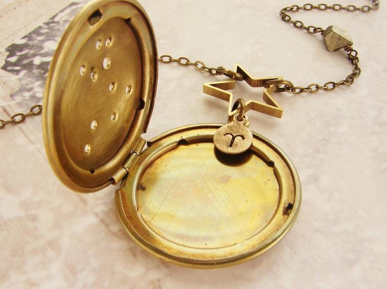 Personalized constellation locket Necklace Zodiac jewelry Zodiac necklace March April birthday constellation necklace Aries necklace