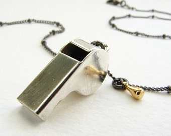 Miniature whistle necklace, working police whistle delicate satellite chain silver gunmetal mixed metal, dog training whistle necklace