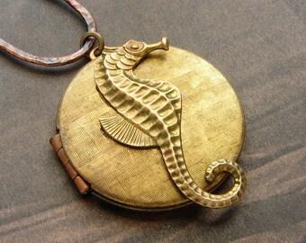 Vintage Seahorse Locket Necklace - vintage photo locket necklace, photo locket necklace, seahorse locket long necklace