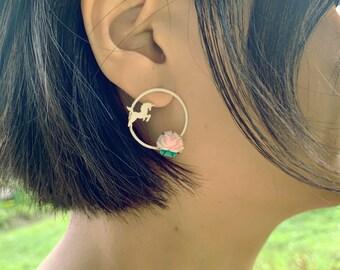 I Believe in Unicorns post earrings, Sterling Silver Unicorn and Star earrings, Unicorn and Rose studs, Unicorn Fantasy Garden earrings