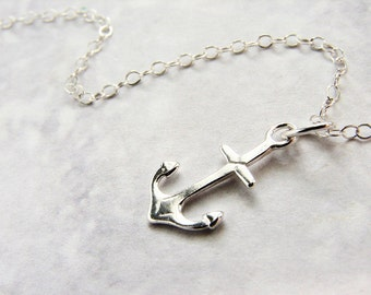 Tiny anchor necklace sterling silver charm, Sailor's pride simple delicate everyday necklace gift for teen girls, gift for her