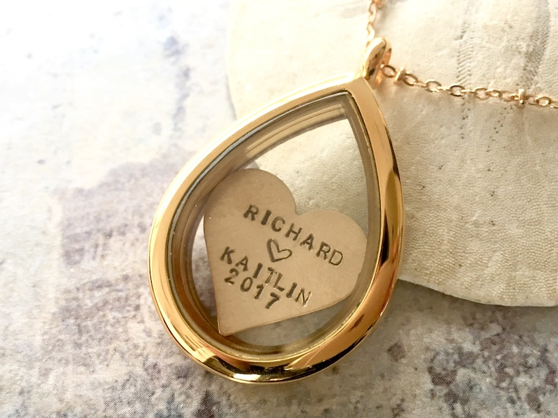 Personalized heart locket necklace Memory locket Gift for wife Anniversary gift Anniversary Locket Necklace Couple Name Locket