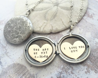 Personalized jewelry, Mothers day gift, child birthdate, name necklace, gift for mom, child name locket necklace, I love you mom