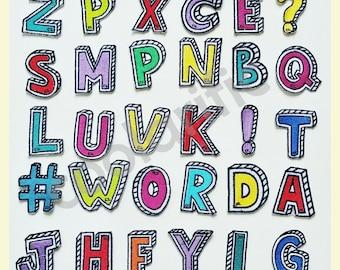Alphabet Sticker Patches