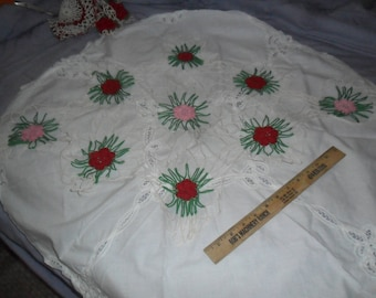 """Vintage Hand Crocheted Bridal Rose Doily 38"""" wide by 23"""" deep"""