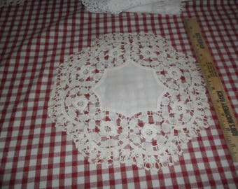 """Antique Hand Crocheted and Linen Doily 11"""" diameter"""