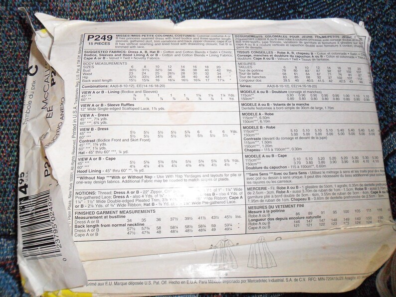 2001 UNCUT McCalls P249 Size EE Taille 14 16 18 and 20 MissesMisses Petite Colonial Dress /& CAPE Costume Pattern