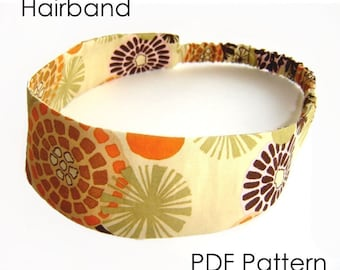 Hairband Sewing Pattern - Classic Hairband Headband PDF Pattern - INSTANT DOWNLOAD