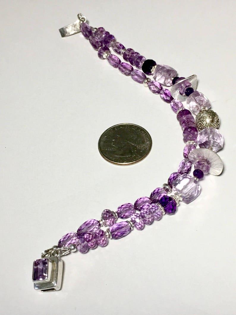 Amethyst Jewelry Statement Bracelet Modern Bracelet Sterling Silver Gift Pink Gemstone Bracelet AAA Pink Amethyst Silver Bracelet