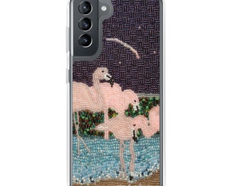 Flamingo Moon- Pink Tropical Birds Art Print Printed Image- Samsung Galaxy Case- S10, S10+, S10e, S20, S20 U, S21- MADE to ORDER