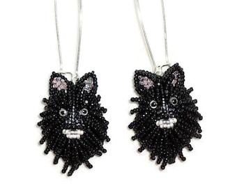 Black POMERANIAN keepsake bead embroidery dog earrings- Gift for Her- Ready to Ship