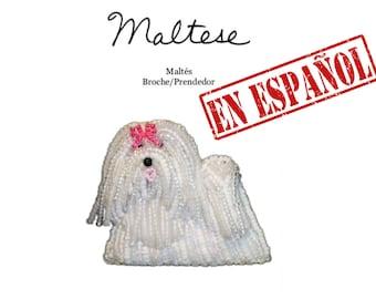 PDF en español: MALTÉS patrón de bordado con cuentas de prendedor de perro + Tutorial de Introducción a Básico Bordados con Cuentas