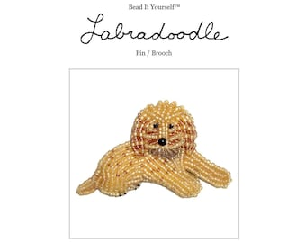 Set of 2 PDF Files: LABRADOODLE or Goldendoodle Dog Pin Beading Pattern + Intro to Bead Embroidery Cat Tutorial