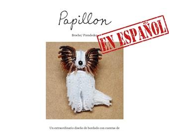 PDF en español: PAPILLÓN patrón de bordado con cuentas de prendedor de perro + Tutorial de Introducción a Básico Bordados con Cuentas