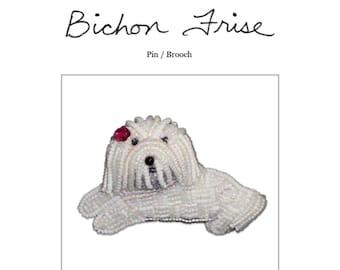 Set of 2 PDF Files: BICHON FRISE Dog Pin Beading Pattern + Intro to Bead Embroidery Cat Tutorial