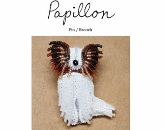 Set of 2 PDF Files: PAPILLON Dog Pin Beading Pattern + Intro to Bead Embroidery Cat Tutorial