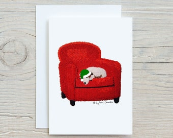 """Rudy's Dream 5x7"""" Holiday Greeting Cards- Jack Russell Terrier Dog Art Print - Original Artwork Printed Image (Made To Order)"""