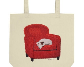 Rudy's Dream - Jack Russell Terrier Art Print Organic Cotton Eco Grocery Tote Bag - Printed Image Dog Art Print- MADE to ORDER